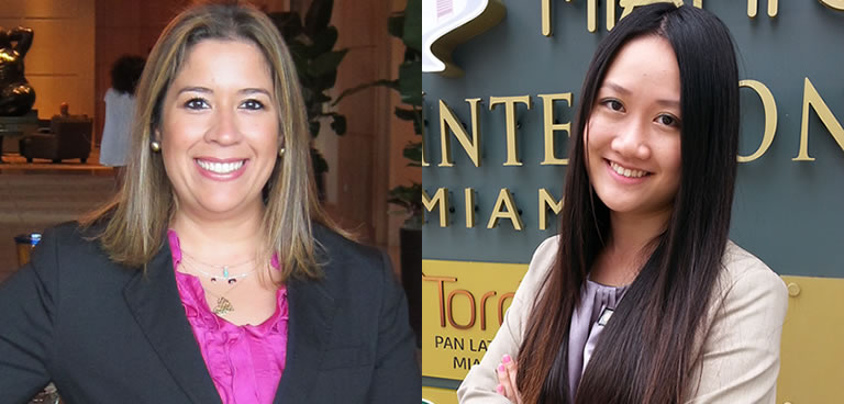 Catalina Orozco at the Mandarin Oriental hotel and Zhiran Liu in front of the InterContinental Hotel Miami