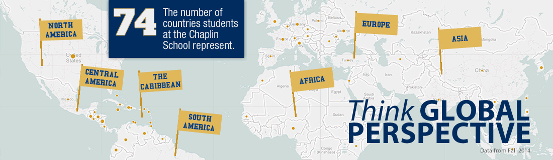 Students from the Chaplin School represent 74 countries. Think Global Perspective