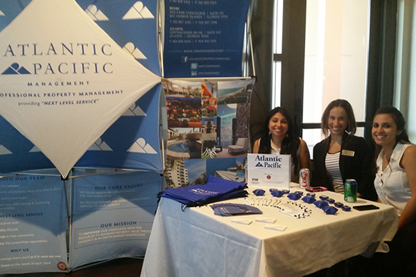 FIU hospitality management career week employer table for Atlantic Pacific Management