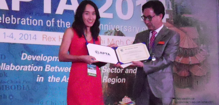 Hospitality Management Professor Eunju Suh at the 20th Asia Pacific Tourism Association (APTA) Conference in Ho Chi Minh City, Vietnam