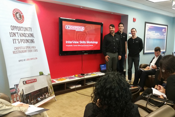 FIU hospitality management career week employer presentation with Chipotle Mexican Grill