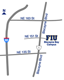 Map to Florida International University's Biscayne Bay Campus