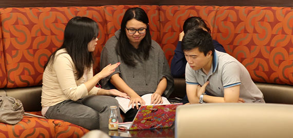 Study group meeting in the Carnival Student Center